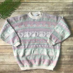 VTG 80's Pastel Sparkle Cat Fairy Kei Sweater